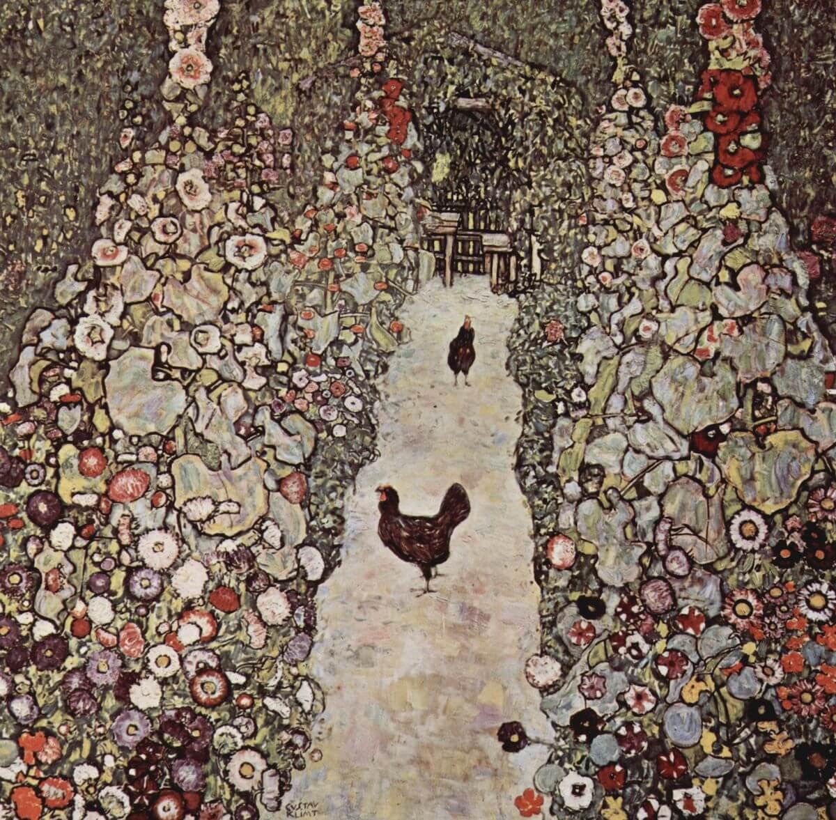 Garden with Roosters, 1917 by Gustav Klimt
